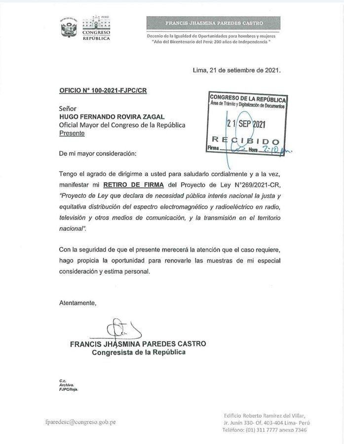 Carta enviada por Paredes al oficial mayor del Congreso.