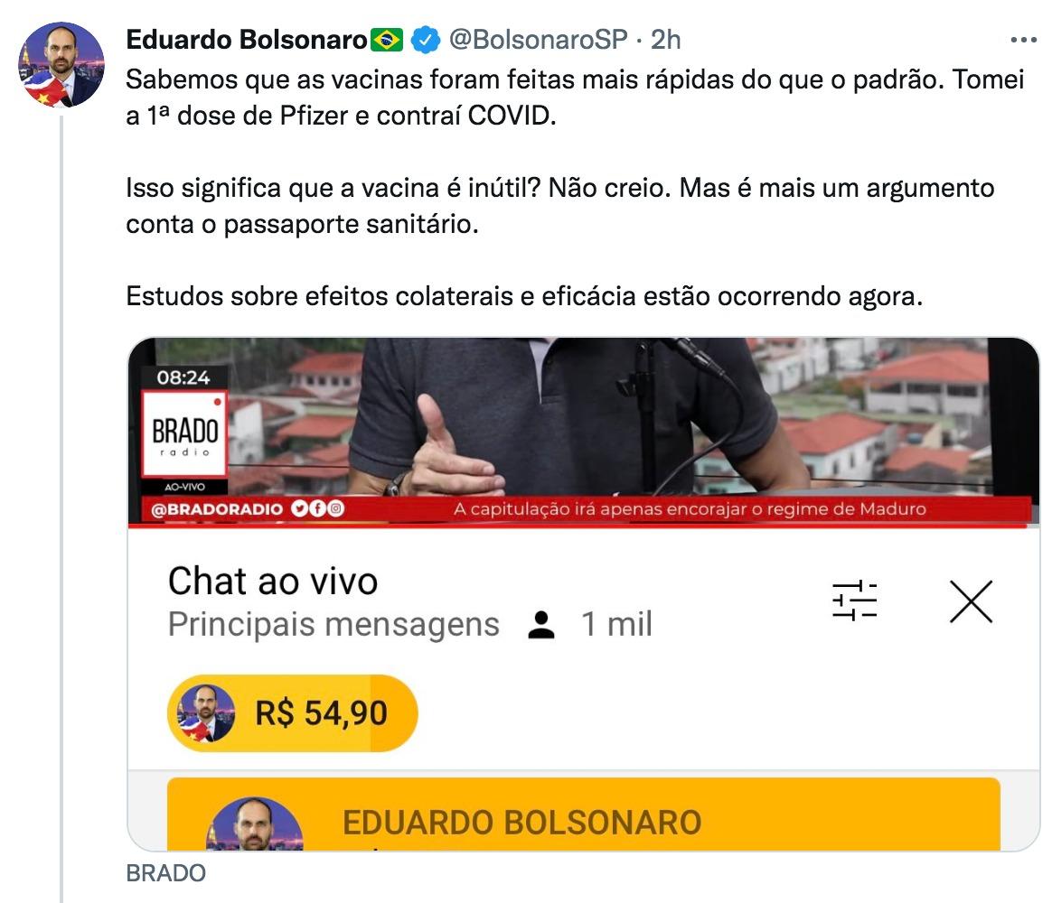 El hijo de Bolsonaro dio positivo para COVID-19 tras volver de Naciones Unidas.